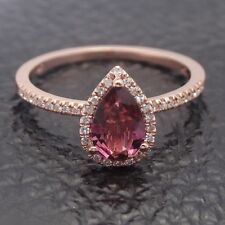 Fine Jewelry Pear 6x8mm1ct Tourmaline Halo Diamonds Gemstone Ring 14k Rose Gold