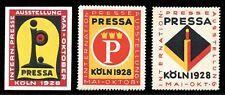 "Germany Poster Stamps - 1928 - Köln - ""PRESSA"" - Press Exhibition - 3 Different"