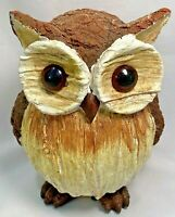 """Owl Big Eyed Wood Look Resin Figurine 6"""" Home Garden Decor Tii Collection New"""