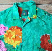 Jams World Men's Aloha Posies Floral Brushstroke Green Watercolor Sz Small