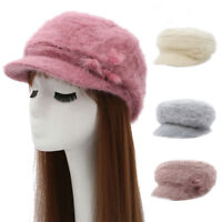 EE_ WOMEN BERET PEAKED CAP WINTER SOLID FAUX FUR BEADING FLUFFY KNITTED HAT STRI
