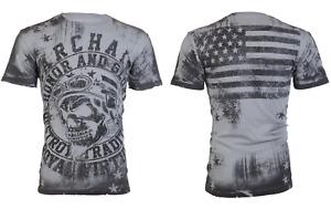 Archaic By Affliction Men's T-Shirt DEATH RACER Skull Flag Biker M-3XL