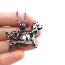 """C583 Colors Dog Puppy Pearl Cage Charm Locket Stainless Steel Chin 18"""""""