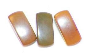 3 Vegetable Ivory Buttons Light Brown Green Rectangle Self Shank #1