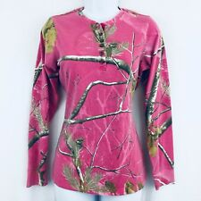 Realtree Long Sleeve Henley Top Pink Camo Size Small 4-6