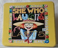 Mary Engelbreit Tin and Stationery Gift Set She Who Laughs Last new