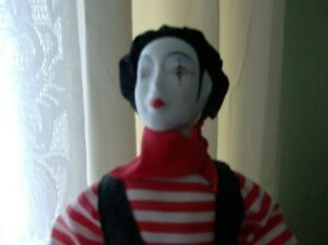 PIERROT FRENCH MIME DOLL art deco 17' EXCELLENT HOLDING COMEDY & TRAGEDY MASKS