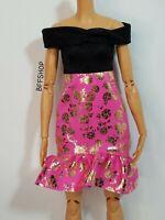 MATTEL PINK OFF SHOULDERS DRESS BARBIE FASHIONISTAS FASHION CLOTHES GOLD ROSES