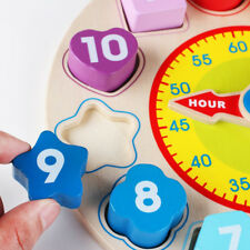 Wonder Toys Wooden Shape Sorting Clock Educational for Kid Toy LH