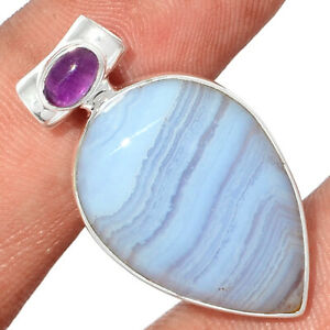 Blue Lace Agate - South Africa & Amethyst 925 Silver Pendant Jewelry BP83161