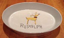 Pottery Barn Rudolph Reindeer Oval Casserole Dish Platter Serving Tray Christmas