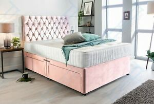 PINK PLUSH VELVET DIVAN BED SET WITH MATTRESS & HEADBOARD, 4FT6 DOUBLE 5FT KING