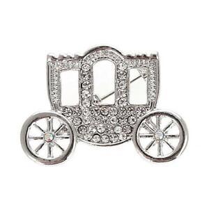 New On Card Princess Carriage Coach Silver Metal & Crystal Brooch 3cm x 2cm