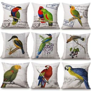 Retro Vintage Bird Cushion Cover Pillow Case Cotton Linen Sofa Car Home Decor
