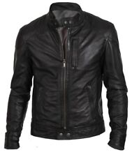 NEW MENS BOMBER VINTAGE BLACK GENUINE LEATHER JACKET SLIM FIT MOTORCYCLE BIKER