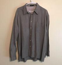Men's Gray Long-Sleeve Casual Silk Blend Shirt Regular Size XL
