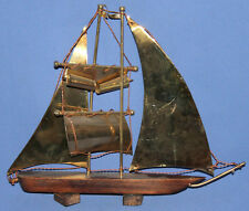 Vintage hand made wood/brass ship statuette