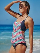 NEW Athleta Moxie Blousy Tankini, Multi-Color, 32 B/C, Swim, Beach, SOLD OUT $84
