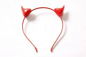 Ladies Sexy Costume Thin Metal Red Headband with 3D Plastic Devil Ears (S576)