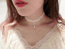 Gothic Vintage White Charm Women Chain Pendant Statement Bib Lace Pearl Necklace