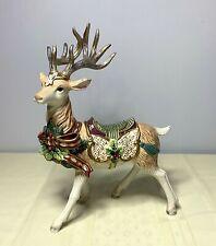 "Fitz & Floyd Florentine 12"" White Stag Christmas Reindeer Deer Figurine"
