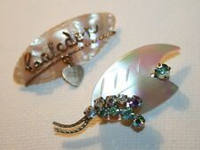 2x Vintage Cute Mother of Pearl Diamante Retro Brooches Rockabilly Jewellery