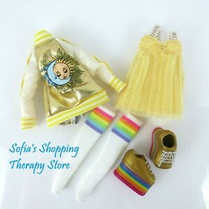 Rainbow High Doll SUNNY MADISON Dress Jacket Socks Shoes Lot Yellow Gold White