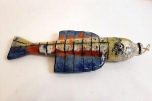 Erwin Spuler Werkstattarbeit großer Fisch Skulptur Keramikfisch bunt