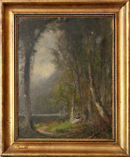 European 20th Century Oil Painting of Wooded Landscape Forrest Scene