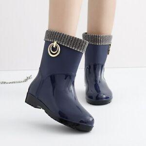 Rubber Rain Boots for Women Waterproof High Heel Shoes Ladies Short Ankle PVC