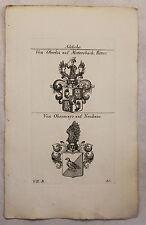 Gravure sur cuivre Armoiries Famille v. Oberlin Chevalier & v. Obermayr 1825