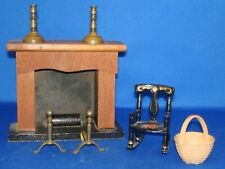 lot of vintage doll house furniture fireplace andirons candlesrick rocking chair