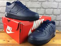 NIKE UK 5.5 EU 38.5 AIR FORCE 1 LEATHER TRAINERS NAVY WHITE CHILDRENS BOYS M