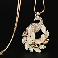 Luxus Schwarn Damen Gold Mode Halskette lange Kette 80cm Collier Anhänger M56