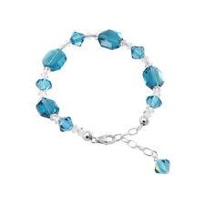 Sterling Silver Swarovski Elements Blue Crystal Bracelet 7 to 9 inch