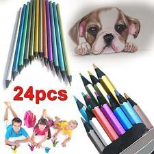 2*12pcs Metallic Non-toxic Colored Drawing Pencils 12 Color Drawing Sketching TE
