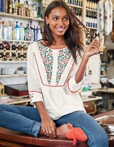 Boden Women's Kelsey Embroidered Blouse Floral Ecru White Size US 18 Flaw