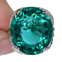 DEEP GREEN SEA APATITE OVAL RING SILVER 925 UNHEATED 13.95 CT 18.2X16.3 MM. SZ 6