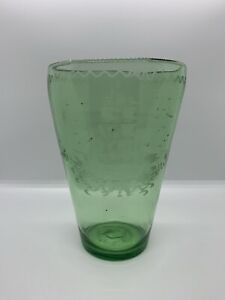 18th C Steigel Large Green Blown Glass Vase Hand Etched Ship Frigate American