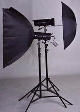 Lencarta Elitepro 300Ws 2 head studio lighting kit with 1 softbox 1 umbrella