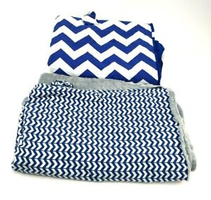 Infant Car Seat Canopy Cover Blue Grey White Chevron Stripes Lot Of 2 Used Good