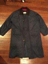 Eddie Bauer Goose Down Navy Coat Men's Size Medium Winter Zip Out Wool Liner