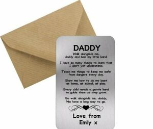 Personalised Dad Daddy Keepsake Wallet Card Birthday Gift Fathers Day quote