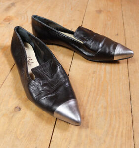 French Sole Jane Winkworth Soft Black Pointed Silver Leather Flats EU 40 UK 7