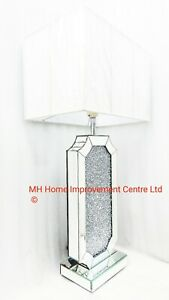 Table Lamp Mirrored Sparkly Silver Mini Diamond Crush Tall Cream White Shade