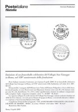 ITALIA 2000 COLLEGIO SAN GIUSEPPE ROMA  BOLLETTINO COMPLETO DI FRANCOBOLLI FDC