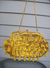 RICHERE BAG for WALBORG Yellow Gold Beaded & Sequin Tassel Evening Bag