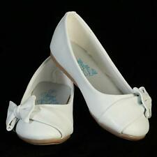 New Girls Kids Youth Dress Shoes Ivory White Flats Wedding Flower Wedding Bow