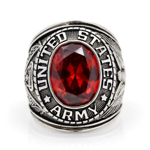 United stated US Army Military Ruby Gemstone Solid Find 925 Sterling Ring
