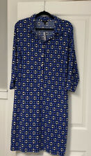 Nwt Talbots Blue Print 2X Pullover 3/4 Sleeve Belted Dress